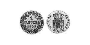 1 Kreuzer Kingdom of Bavaria (1806 - 1918) Silver Ludwig I of Bavaria (1786 – 1868)