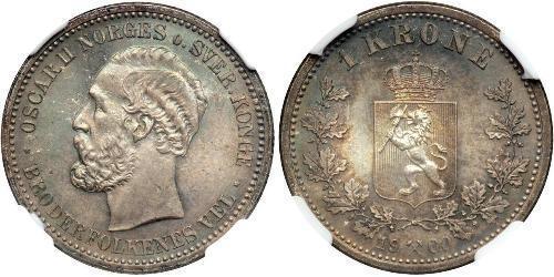 1 Krone 瑞典-挪威联盟 (1814 - 1905) 銀 奧斯卡二世 (1829-1907)