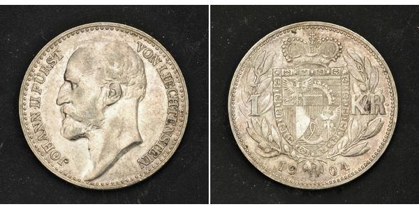 1 Krone Liechtenstein 銀 Johann II, Prince of Liechtenstein (1840-1929)