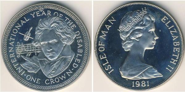 1 Krone 曼島 銅/镍 伊丽莎白二世 (1926-)