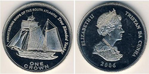1 Krone 特里斯坦-达库尼亚 銅/镍 伊丽莎白二世 (1926-)