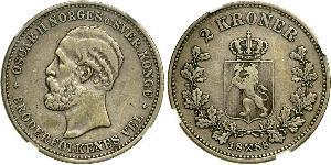 1 Krone United Kingdoms of Sweden and Norway (1814-1905) Argent Oscar II de Suède (1829-1907)