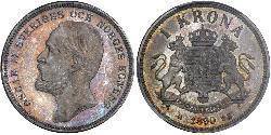 1 Krone Svezia Argento Oscar II di Svezia (1829-1907)