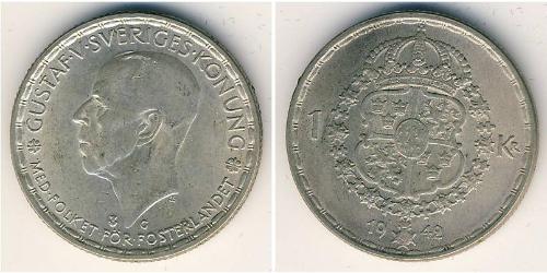 1 Krone Svezia Argento Gustavo V di Svezia (1858 - 1950)