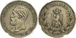 1 Krone United Kingdoms of Sweden and Norway (1814-1905) Argento Oscar II di Svezia (1829-1907)