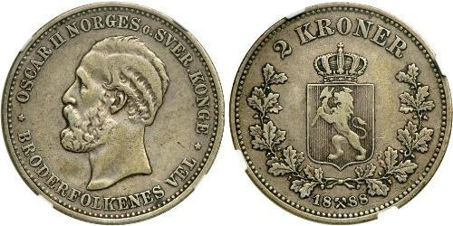 1 Krone United Kingdoms of Sweden and Norway (1814-1905) Argento Oscar II di Svezia (1829-1907)