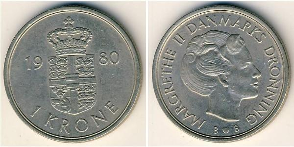 1 Krone Denmark Copper/Nickel Margrethe II of Denmark (1940-)