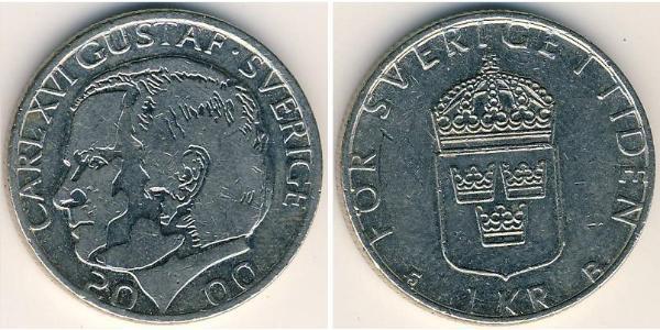 1 Krone Sweden Copper/Nickel Carl XVI Gustaf of Sweden