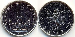 1 Krone Checoslovaquia  (1918-1992) Níquel/Acero