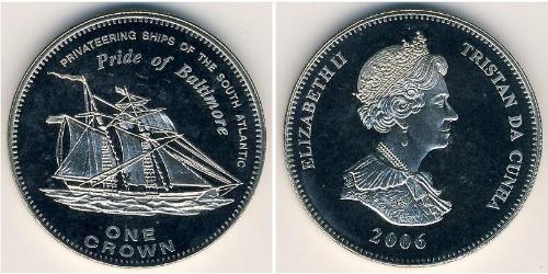 1 Krone Tristán de Acuña Níquel/Cobre Isabel II (1926-)