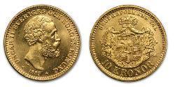 1 Krone United Kingdoms of Sweden and Norway (1814-1905) Oro Óscar II de Suecia (1829-1907)