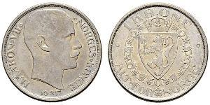 1 Krone Noruega (1905 - ) Plata Haakon VII de Noruega (1872 - 1957)