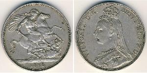 1 Krone Reino Unido Plata Victoria (1819 - 1901)