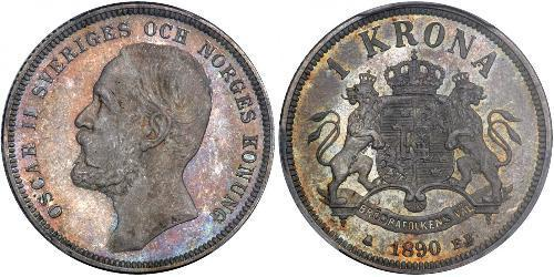 1 Krone Suecia Plata Óscar II de Suecia (1829-1907)