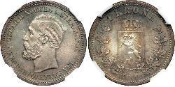1 Krone United Kingdoms of Sweden and Norway (1814-1905) Plata Óscar II de Suecia (1829-1907)