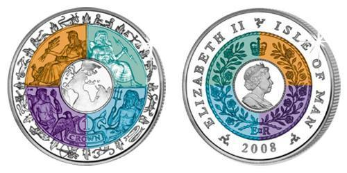 1 Krone Isla de Man Plata-Titanio