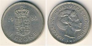 1 Krone Danimarca Rame/Nichel Margherita II di Danimarca (1940-)