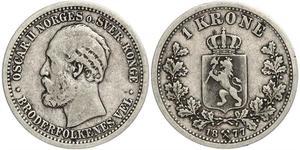 1 Krone United Kingdoms of Sweden and Norway (1814-1905) Silber Oskar II. (Schweden) (1829-1907)