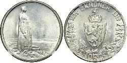 1 Krone Kingdom of Norway (1905 - ) Silver Haakon VII of Norway (1872 - 1957)