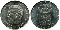 1 Krone Sweden Silver Gustaf VI Adolf of Sweden (1882 - 1973)