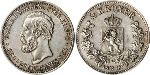 1 Krone United Kingdoms of Sweden and Norway (1814-1905) Silver Oscar II of Sweden (1829-1907)