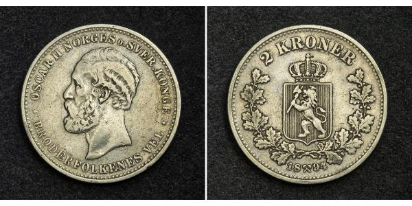 1 Krone United Kingdoms of Sweden and Norway (1814-1905) Silver Oscar II of Sweden (1829-1907)