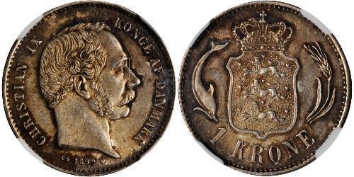 1 Krone Danemark  Christian IX de Danemark (1818-1906)