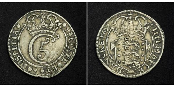 1 Krone / 4 Mark 丹麦 銀