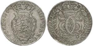 1 Krone / 4 Mark Danemark Argent