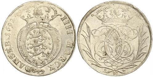 1 Krone / 4 Mark Danimarca Argento