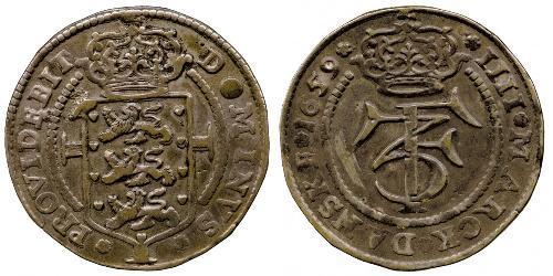 1 Krone / 4 Mark Denmark Silver Frederick III of Denmark (1609 -1670)