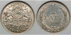 1 Lats Letonia Plata