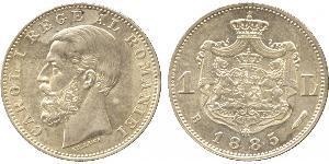 1 Leu Regno di Romania (1881-1947) Argento Carlo I di Romania (1839 - 1914)