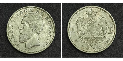 1 Leu Kingdom of Romania (1881-1947) Silver Carol I of Romania (1839 - 1914)
