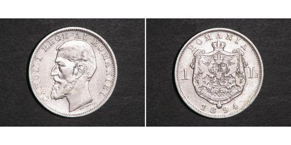 1 Leu Kingdom of Romania (1881-1947) Silver