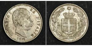 1 Lira 意大利王國 (1861-1946) 銀 Umberto I (1844-1900)