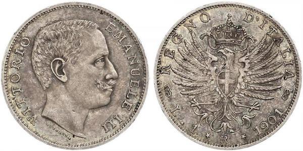 1 Lira 意大利王國 (1861-1946) 銀 Vittorio Emanuele III (1869 - 1947)