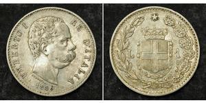 1 Lira Kingdom of Italy (1861-1946) Argent Umberto I (1844-1900)