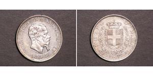 1 Lira Kingdom of Italy (1861-1946) Argent Victor Emmanuel II of Italy (1820 - 1878)