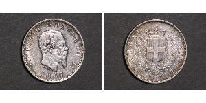 1 Lira Kingdom of Italy (1861-1946) Argento Victor Emmanuel II of Italy (1820 - 1878)