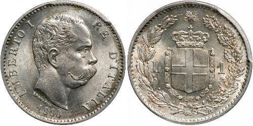 1 Lira Kingdom of Italy (1861-1946) Argento Umberto I (1844-1900)