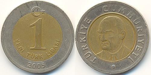 1 Lira Turkey (1923 - ) Brass/Nickel