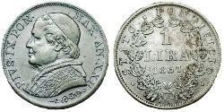 1 Lira Estados Pontificios (752-1870) Plata Pío IX (1792- 1878)