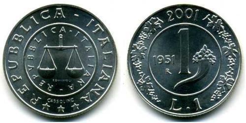 1 Lira Italia Plata