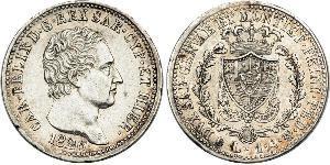 1 Lira Italian city-states Plata Carlos Félix de Cerdeña
