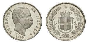 1 Lira Kingdom of Italy (1861-1946) Plata Umberto I (1844-1900)