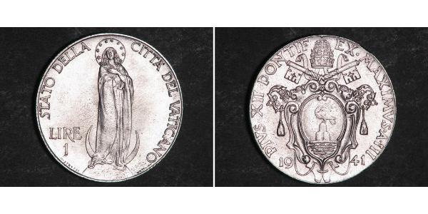 1 Lira Vatikan (1926-) Rostfreier Stahl Pius XII  (1876 - 1958)