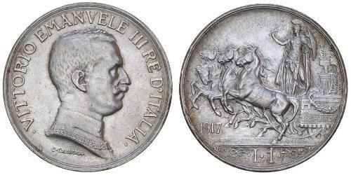 1 Lira Kingdom of Italy (1861-1946) Silber Vittorio Emanuele III (1869 - 1947)
