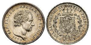 1 Lira Italian city-states Silver Charles Felix of Sardinia