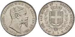 1 Lira Kingdom of Italy (1861-1946) Silver Victor Emmanuel II of Italy (1820 - 1878)
